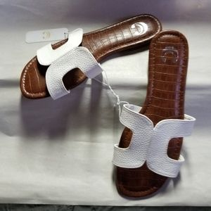 Charming Charlie Sandals, Brown w-White Straps